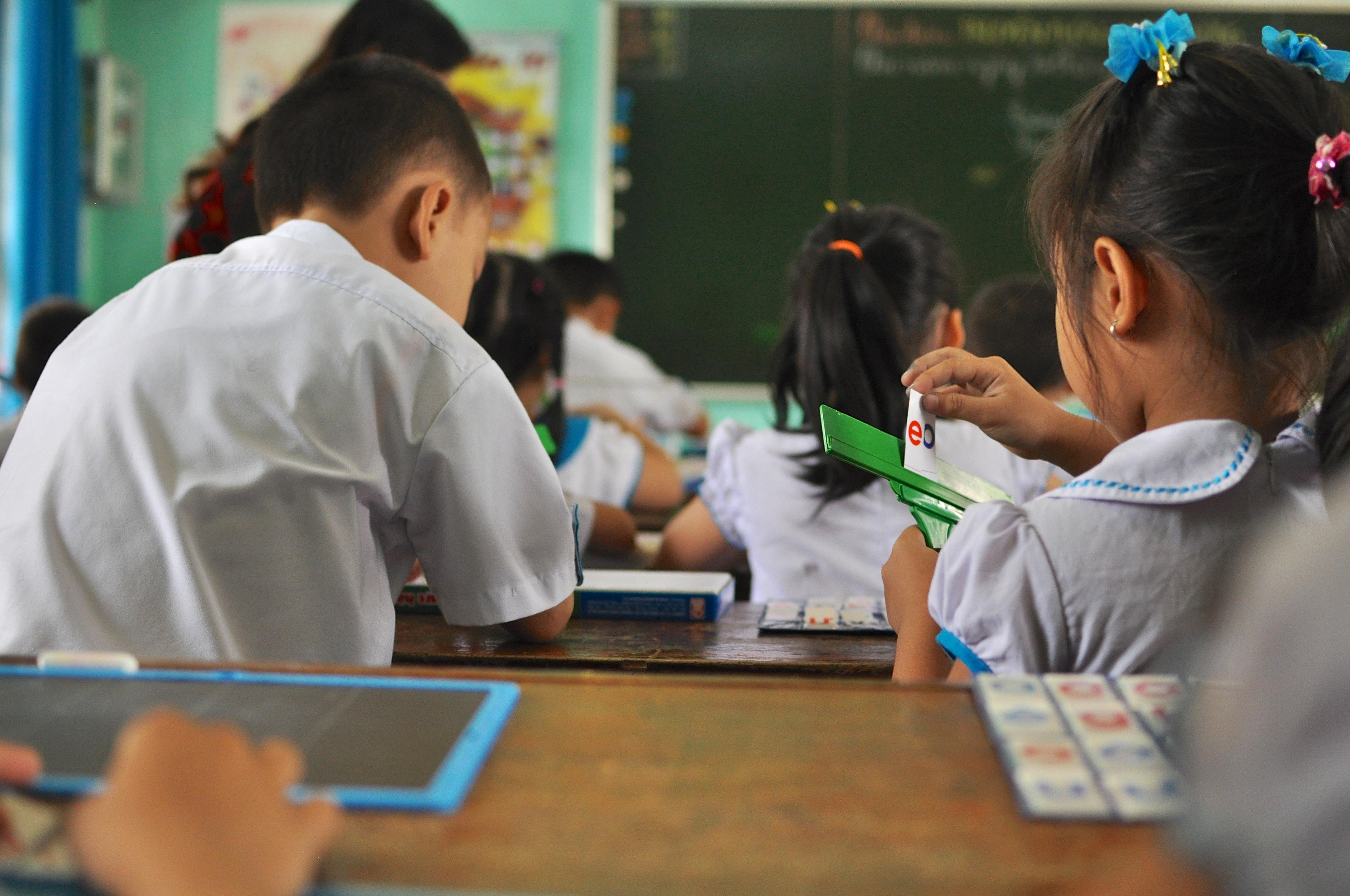 Children at primary school, grade 1