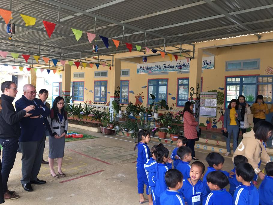 Belgium Ambassador Jansen at Mang Canh preschool, Kon Plong district, Kon Tum province