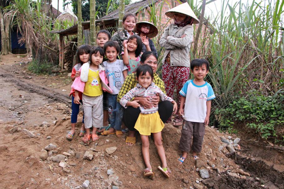 Rural family in Vietnam