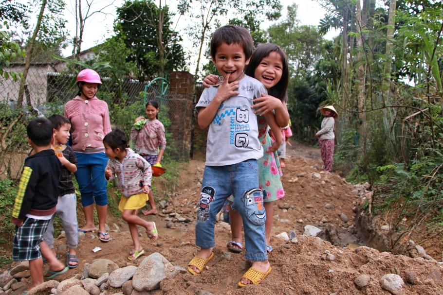 Children in their way to preschool in rural area of central Vietnam